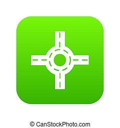Circular intersection icon green