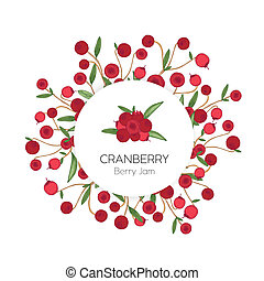 Circular label or tag template with cranberries hand drawn on white background. Design element decorated by red forest boreal berries and leaves. Elegant colorful realistic vector illustration.