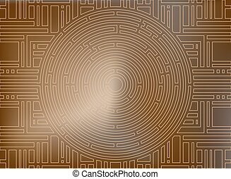 Circular labyrinth background, gold antique
