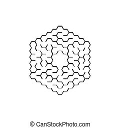 circular labyrinth in the shape of a hexagon. Vector illustration isolated on white background