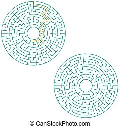 Circular labyrinth with an answer. puzzle. vector illustration.