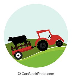 circular landscape and tractor with trailer with cow