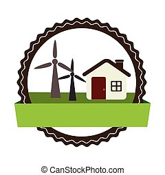 circular landscape with cottage and eolic turbines vector...