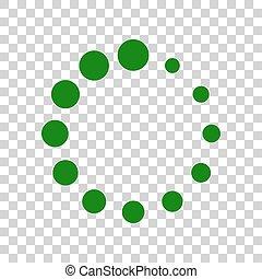 Circular loading sign. Dark green icon on transparent background.