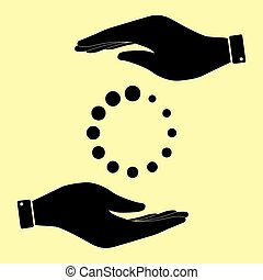 Save or protect symbol by hands. - Circular loading sign....