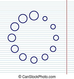 Circular loading sign. Vector. Navy line icon on notebook paper as background with red line for field.
