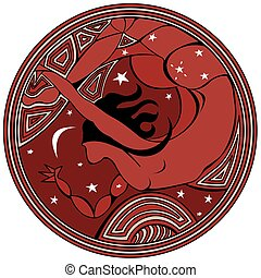 Circular logo with silhouette of a woman flying at night in red color - Vector image