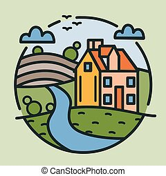 Circular logotype with farmhouse, hills covered with cultivated fields and river drawn in lineart style. Round logo with rural landscape isolated on light background. Modern vector illustration.