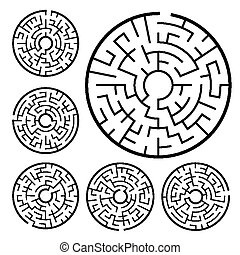 circular maze set isolated on white background