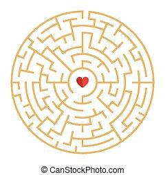 circular maze with heart element
