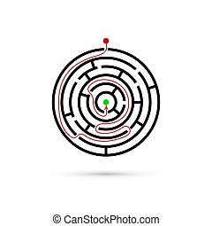 Circular maze with way to center. Business confusion and solution concept. Flat design. Vector illustration on white background