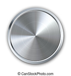Circular metal button with shadow on white background