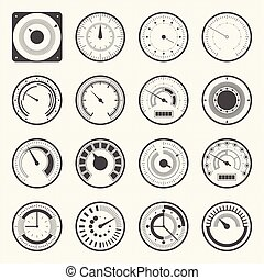 Circular meter, Collection of round gauge. Vector icons set