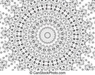 Circular mosaic pattern of different diamonds