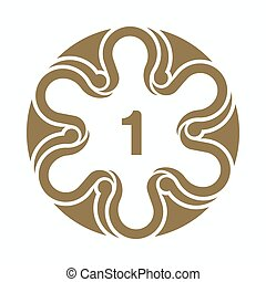 Circular motif decorative art design template. Number one element for design, place for text. Golden illustration for invitations and greeting cards
