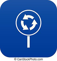 Circular motion road sign icon digital blue