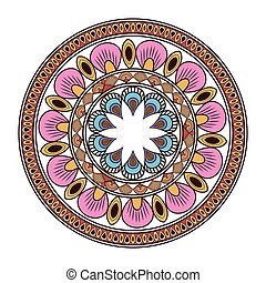 circular multicolored decorative line mandala icon