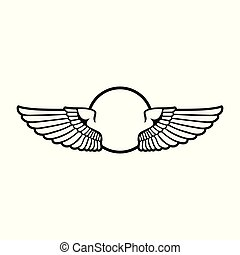 Circular Open Wings Badge Symbol Design Graphic
