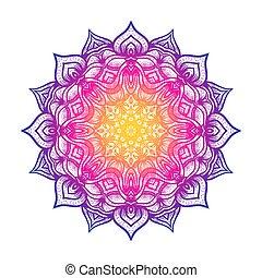 Circular pattern floral mandala on white background