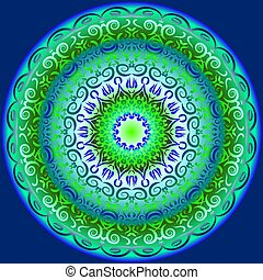 Circular pattern in blue and green