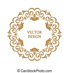 Circular pattern. Round ornament. Vintage frame. Greeting card. Wedding invitation. Retro style. Vector logo template, labels and badges