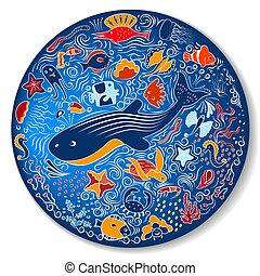 Circular pattern with marine life