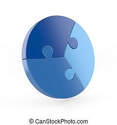 circular, pedazo, tres, rompecabezas