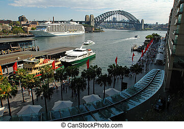 Sydney's Circular Quay, big white boat anchoring, Harbour bridge in background, no advertisment in picture