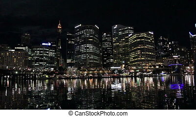 Circular Quay with a reflections in the bay waters, Sydney,...