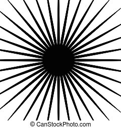 Circular radial lines pattern. Radiating stripes abstract element / shape.
