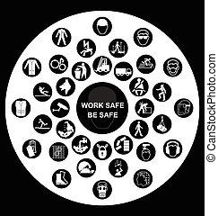 circular, salud y seguridad, iconos