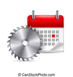 Circular saw and calendar with marked day. Carpenter Day
