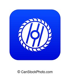 Circular saw blade icon digital blue for any design isolated...