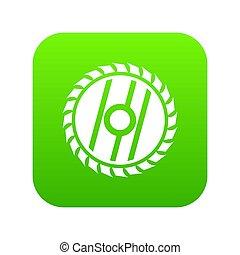 Circular saw blade icon digital green