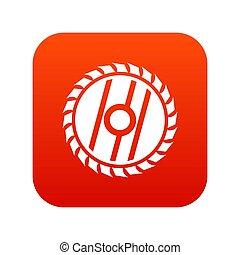 Circular saw blade icon digital red
