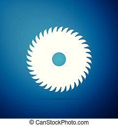 Circular saw blade icon isolated on blue background. Saw wheel. Flat design. Vector Illustration