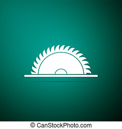 Circular saw blade icon isolated on green background. Saw wheel. Flat design. Vector Illustration