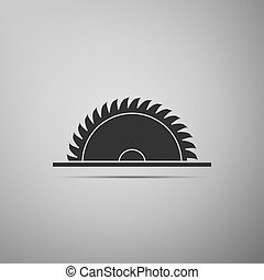 Circular saw blade icon isolated on grey background. Saw wheel. Flat design. Vector Illustration
