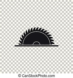 Circular saw blade icon isolated on transparent background. Saw wheel. Flat design. Vector Illustration
