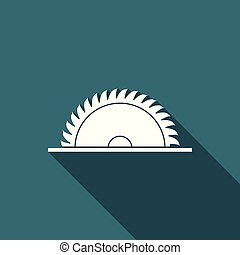 Circular saw blade icon isolated with long shadow. Saw wheel. Flat design. Vector Illustration