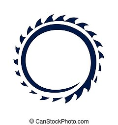 circular saw blade illustration, icon design, isolated on white background.