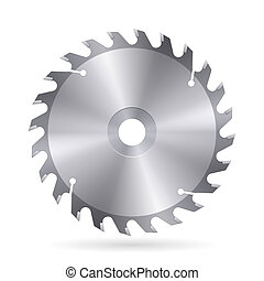 Circular saw blade - Metal blade of circular saw on white...