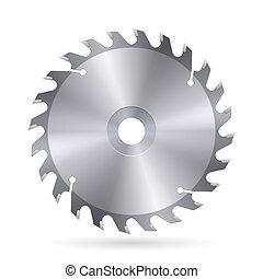 Circular saw blade - Metal blade of circular saw on white ...
