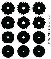 Circular saw blades - Black silhouettes of circular saw ...