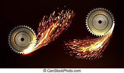 Circular saw blades with sparks, metal work fire - Circular ...