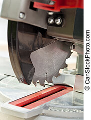 Circular saw - power tool for wood work, closeup