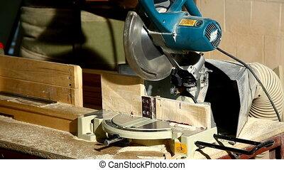 circular saw cut a part of wood detail