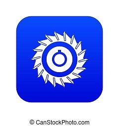 Circular saw disk icon digital blue