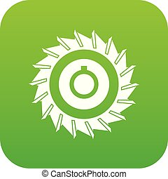 Circular saw disk icon digital green for any design isolated...