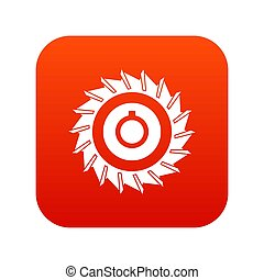 Circular saw disk icon digital red for any design isolated ...